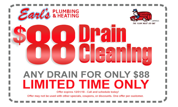 Plumbing Coupons and Specials - $88 Drain Cleaning Coupon-Special